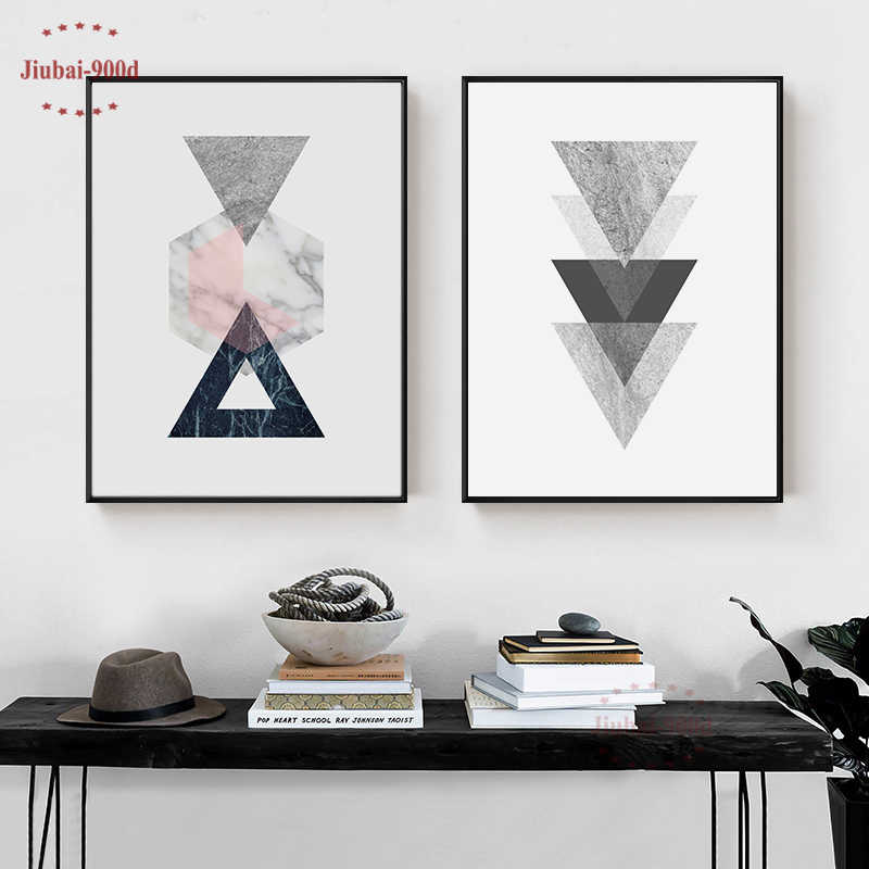 Nordic Style Vintage Geometric Canvas Art Print Poster, Marble Wall Pictures for Home Decoration, Giclee Wall Decor YM004