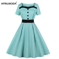 Retro Vintage Plaid Women Dress Summer Style Junior Party Classic Short Sleeve V Neck Button Decorative 50s Swing Midi Dresses