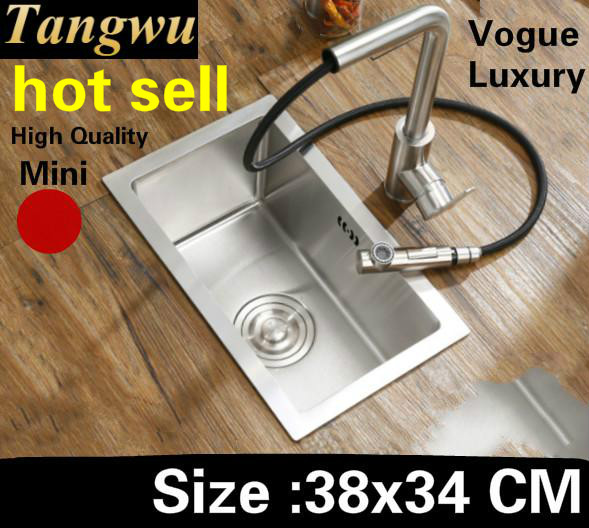Livraison gratuite appartement cuisine de luxe manuel évier simple auge petit lavage légumes 304 acier inoxydable vente chaude 38x34 CM