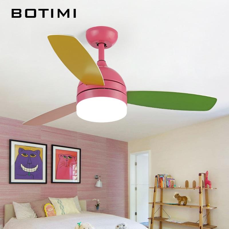 Botimi светодио дный светодиодные потолочные вентиляторы с подсветкой для детской комнаты Ventilador De Teto 220 вольт потолочные вентиляторы лампа сп...