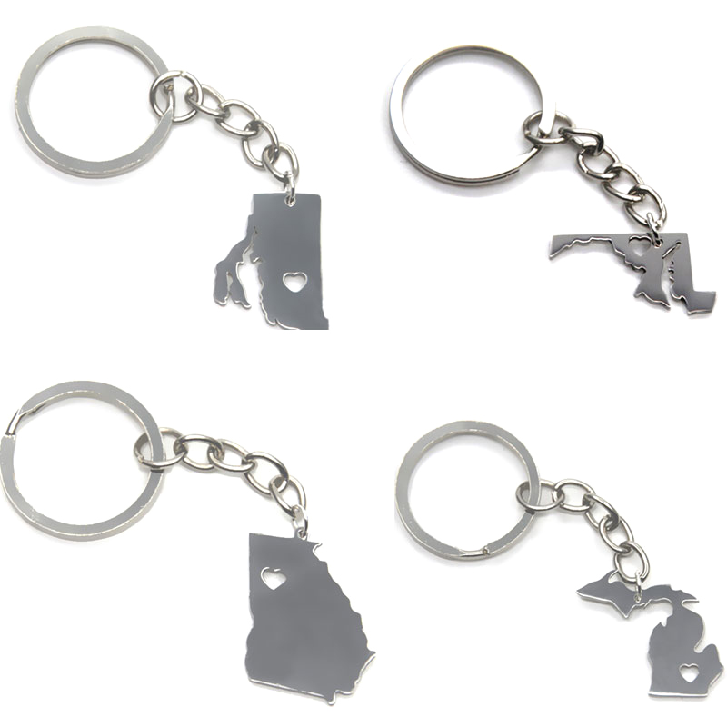 US State Map Keyring Silver Tone California Mhigan Maryland - State map of us ohio to colorado