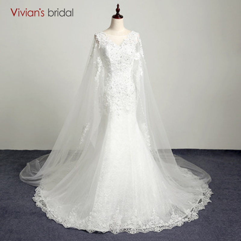 Vivian's Bridal Country Western Wedding Dresses Beaded Cap Lengan Lace Mermaid Wedding Gown AB06