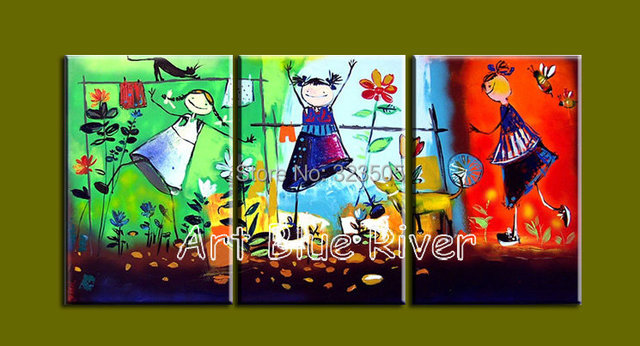 3 Piece Modern Canvas Art Handmade Decorative Kids Bedroom Oil Painting On For Living Room