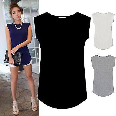 Hirigin 2018 Hot Sale Women T-shirts Sleeveless Solid O-neck Round Side Casual Tees Tops One Size Black White Gray Blue Clothing