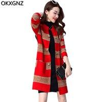 Spring Women S Sweater Jacket 2017 New Fashion Long Sleeve Striped Knit Cardigan Female Costume Plus