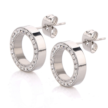 Round Crystal Stud Earrings Earrings Jewelry Women Jewelry Metal Color: Silver Color Main Stone Color: Clear