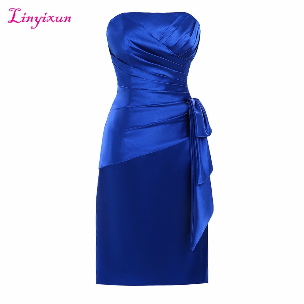 Linyixun réel PhoRoyal bleu 2017 mère de la mariée robes gaine pli genou longueur courte robes de soirée pour la fête de mariage