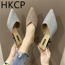 HKCP High-heeled women 2019 new south Korean version of summer wear womens shoes hydrodrill sexy thin heel baotou slippers C283