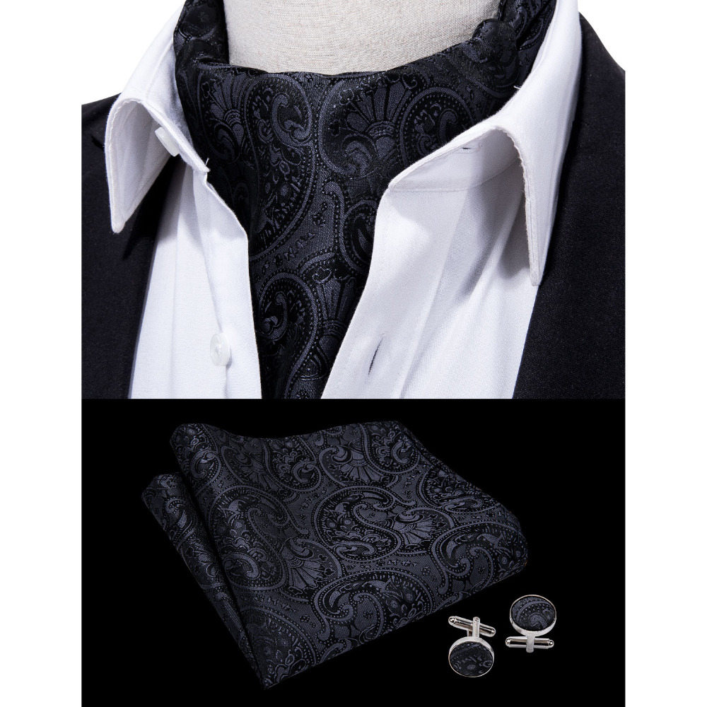 Barry.Wang Fashion Black Men Tie Paisley Style Cravat Ascot Scrunch Self British Silk Set For Mens Formal Wedding Party LF-0008