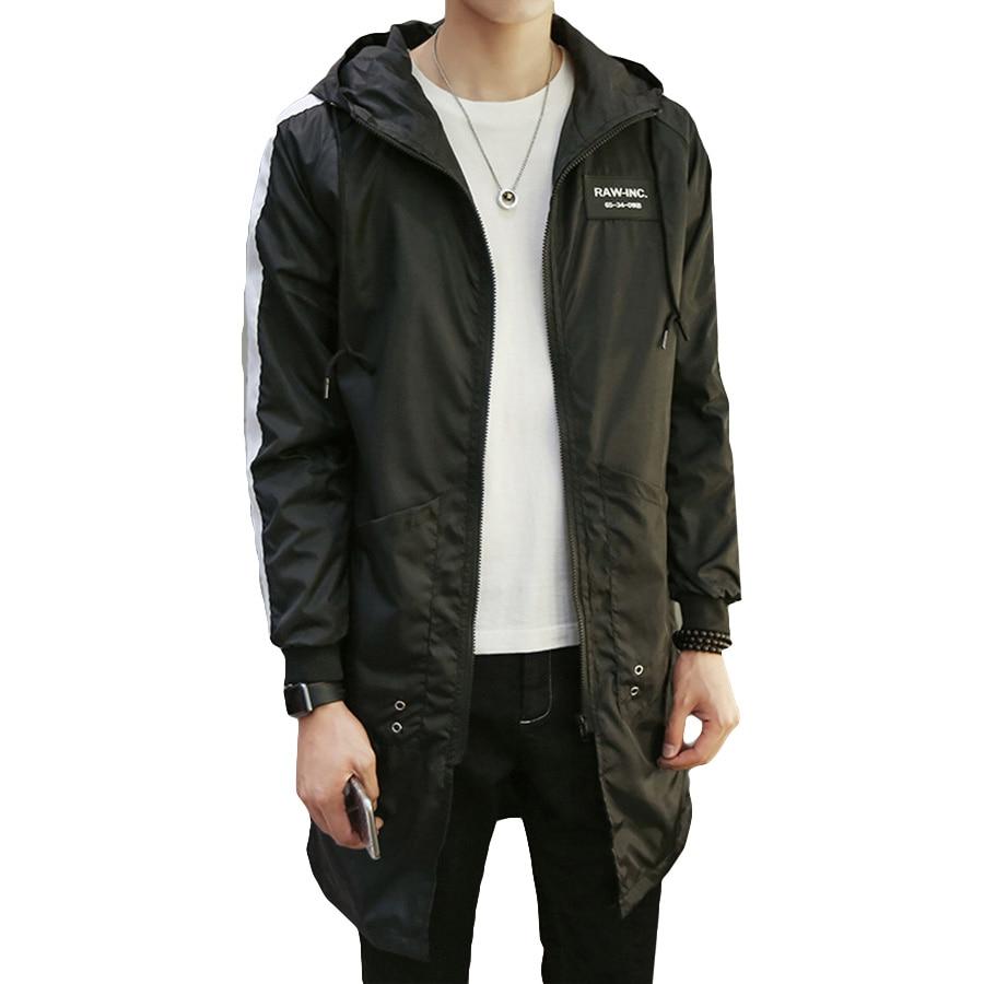 spring men trench coat long slim hooded oversize korean. Black Bedroom Furniture Sets. Home Design Ideas