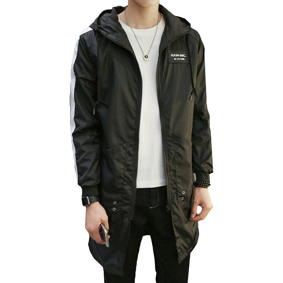 Spring Men   Trench   Coat Long Slim Hooded Oversize Korean Men Coat Fashion Streetwear Manteau Homme Windbreakers Male Outwear 6G