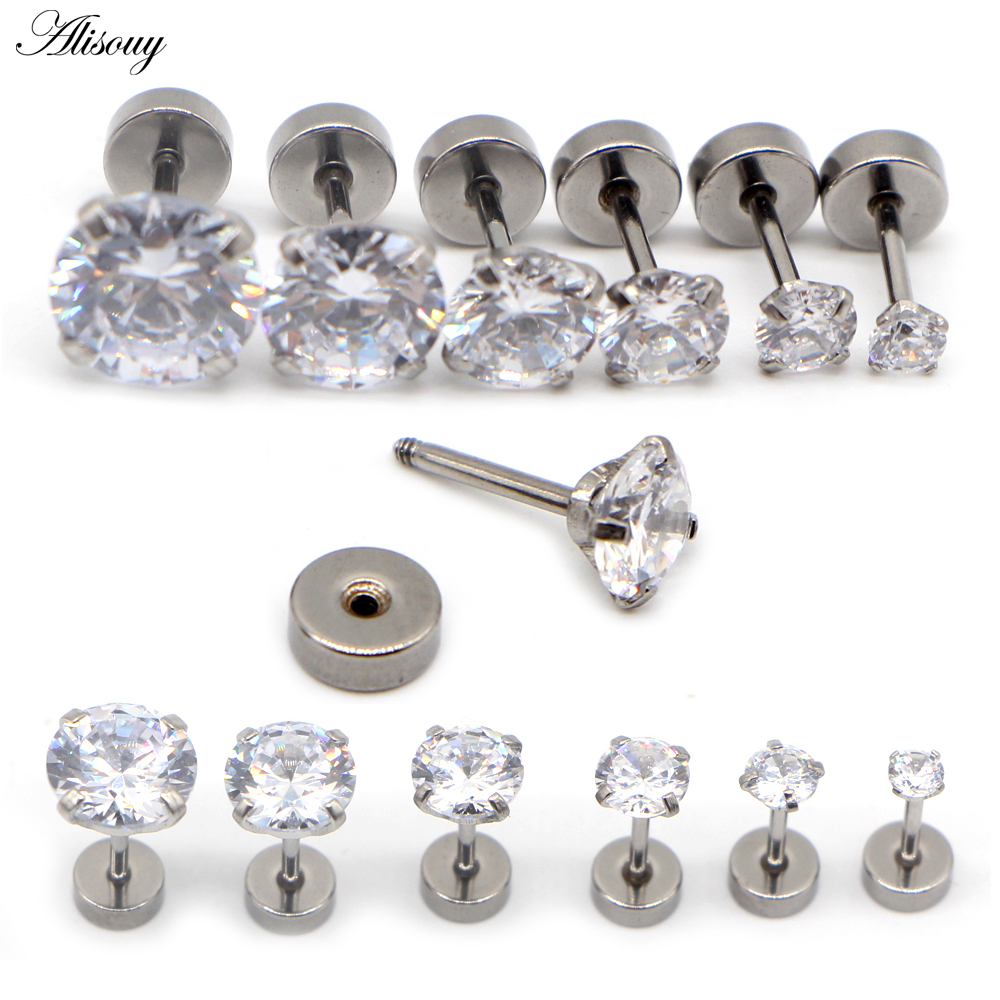 Alisouy 3-8mm Crystal Stud Earrings For Women Girls Stainless Steel Colored Round Rhinestone Earrings Stud Small Earrings 2pcs