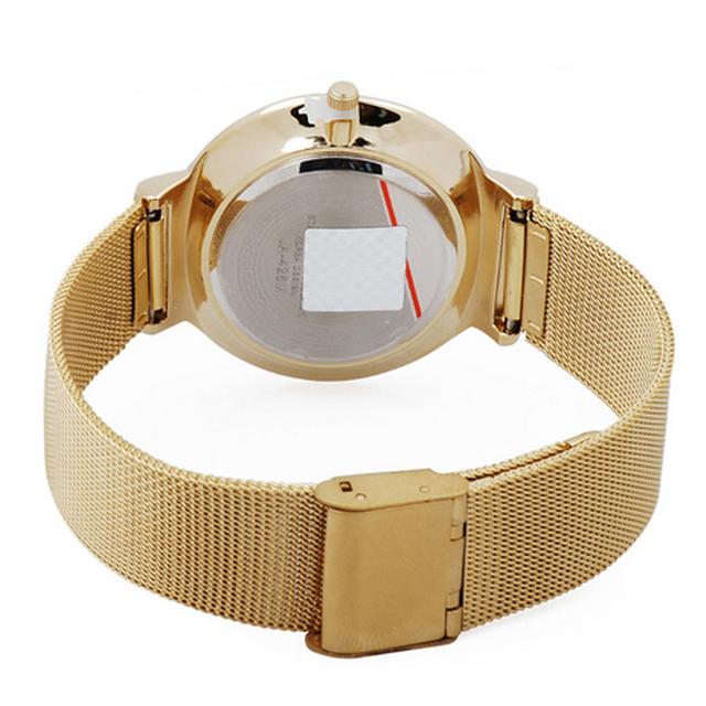 Reloj ultra delgado de plata con malla de acero inoxidable para dama