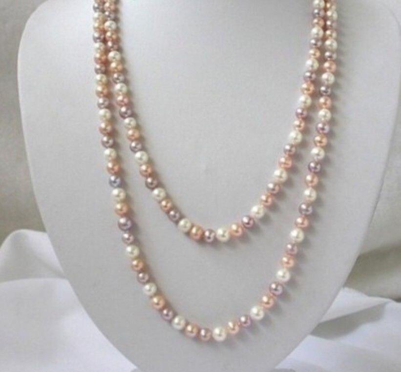 ٩(^‿^)۶Envío libre> 8-9mm blanco rosa púrpura collar de perlas de ...
