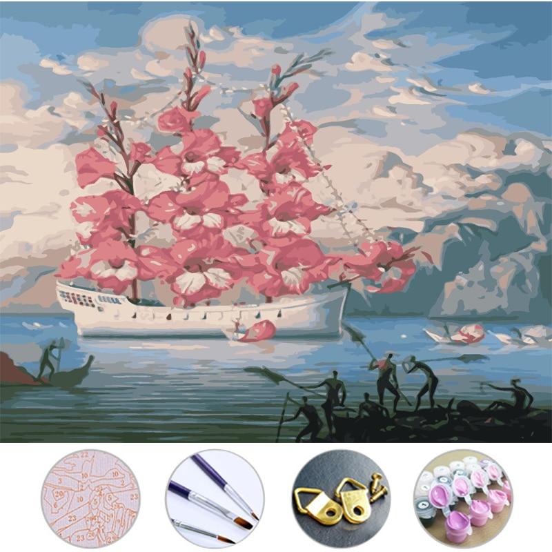 Frameless Canvas Art Oil Painting Flower Painting Design: Diy Oil Painting Drawing Flowers And Boats Frameless