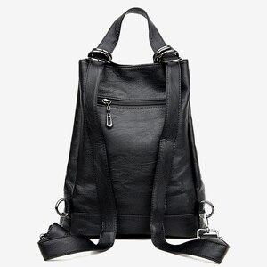 Image 3 - 2019 Kadın Sırt Çantası Yüksek Kaliteli PU Deri Kadın seyahat sırt çantaları Çok fonksiyonlu Su Geçirmez omuzdan askili çanta Kız Okul Çantaları
