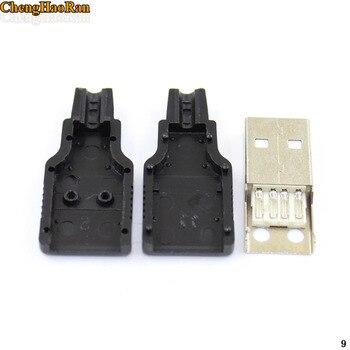 ChengHaoRan 100PCS 200pcs 300pcs USB 2.0 Connector Male 4 Pin Plug Socket Soldering DIY Cable Parts