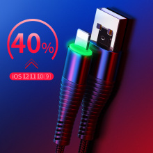 LED Light USB Charger Cable for iPhone 5 6 7 8 Plus X Date