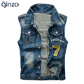 Men's plus large size seven patch design denim vest Male casual holes ripped coat Tank top Free shipping