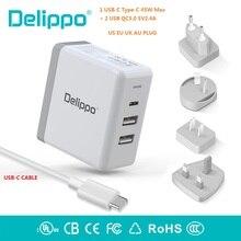 Cargador USB C de 65W Delippo UL, PD & QC 3,0, USB 3 en 1, cargador de pared de viaje, Compatible con iPhone, tableta, ordenador portátil y más
