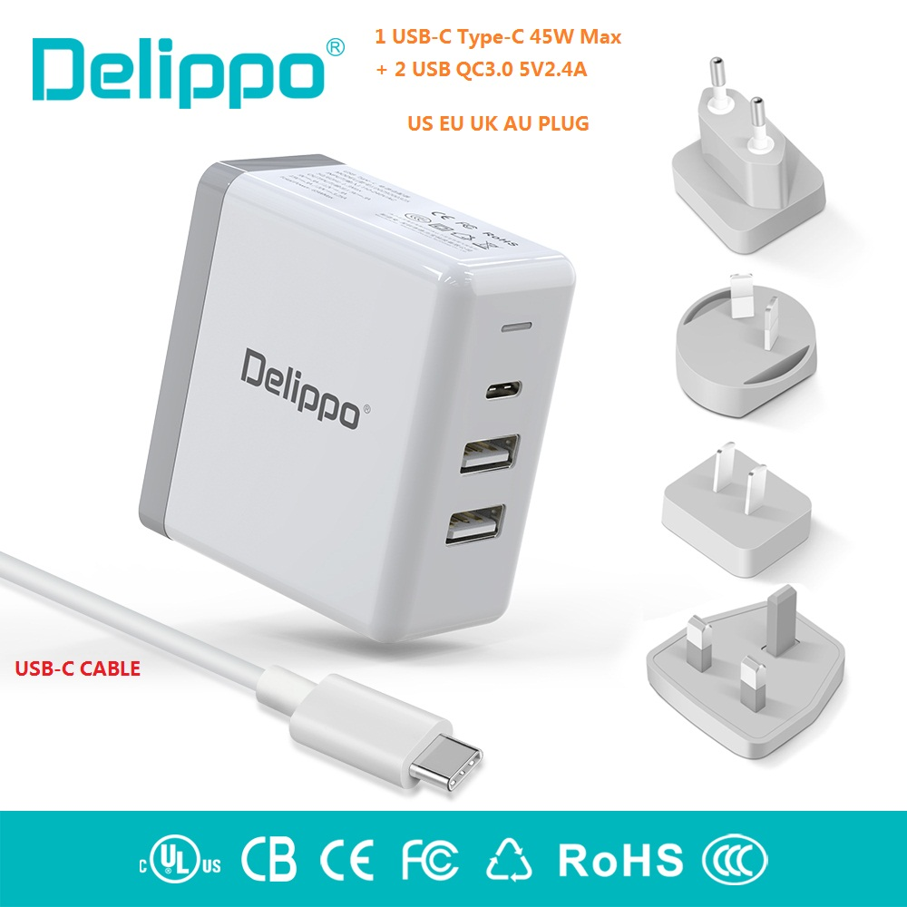 Delippo UL Listed 65W USB C Charger PD & QC 3.0 USB 3 in 1 Travel Wall Charger Compatible for iPhone tablet laptop and More-in Laptop Adapter from Computer & Office    1