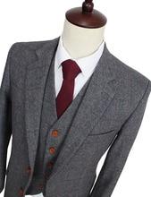 2016 Wool Retro Grey Herringbone Tweed British style custom made Mens suit tailor slim fit Blazer wedding suits for men 3 piece