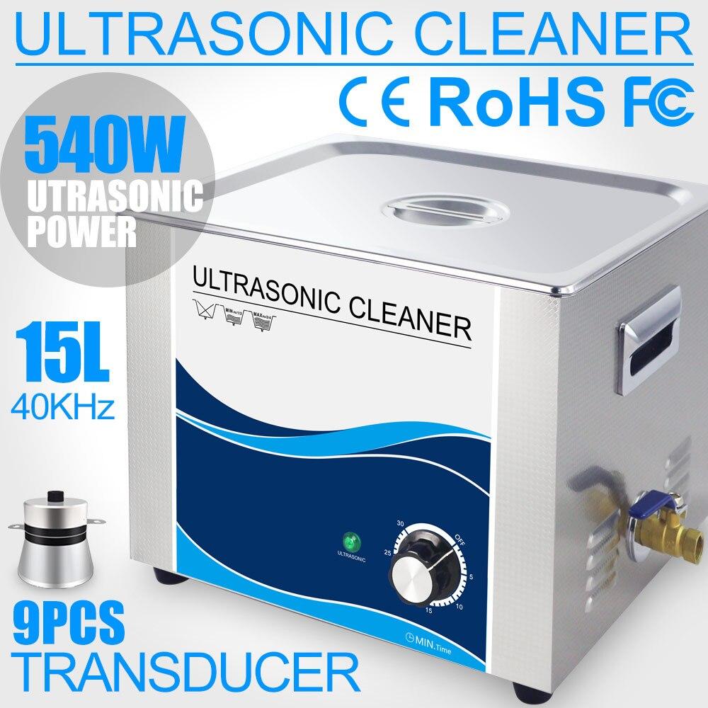 540 вт ультразвуковой очиститель 15л для ванной из нержавеющей стели с таймером ультразвуковое оборудование для чистки лабораторный оптичес