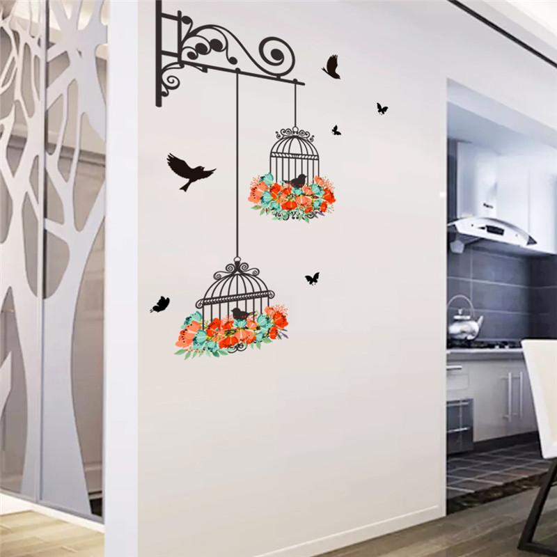 HTB1NrV0QXXXXXbIXFXXq6xXFXXXy - Colorful Flower birdcage wall sticker