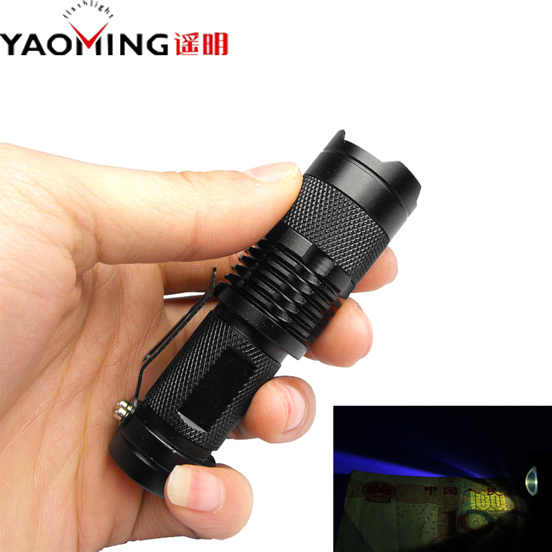 Tactical ultraviolet flashlight detector 365 nm led uv lanternas SK98 Purple light Cree XML Q5 violet torch lamp by AA / 14500