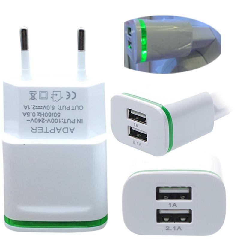 Hot-sale Green High Quality EU Plug 2.0A/1.0A Wall Charger Mini Dual Ports USB LED Light Fast Charging Power Adapter