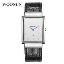 Здесь можно купить  Fashion Casual Men Watch WOONUN Famous Brand Leather Band Quartz Rectangle Watches Men Thin Mens Watches Relogio Masculino  Quartz Wristwatches