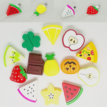 Cute Fruit Phone USB cable protector for iPhone And Phone cable chompers cord animal bite charger