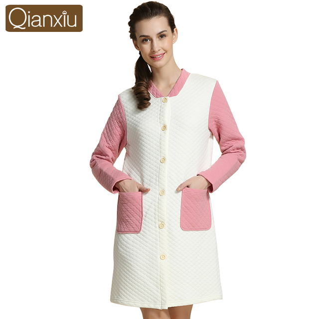 Qianxiu хлопок халат для женщин трикотажные полный рукавом домашней одежды длиной до колен onesies для взрослых