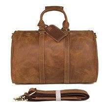 цена на J.M.D Genuine Excellent Vintage Leather Unisex Fashion Brown Travel Duffle Bag England Style Classic Shoulder Bag 7077