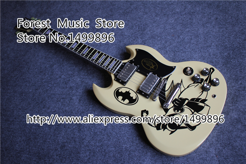 China Custom Shop Batman Cream Finish SG Electric Guitar Custom As You Want Guitar Body & Kit Custom Available china electric guitar firehawk oem shop wholesale custom shop electric guitar rotting wood grain