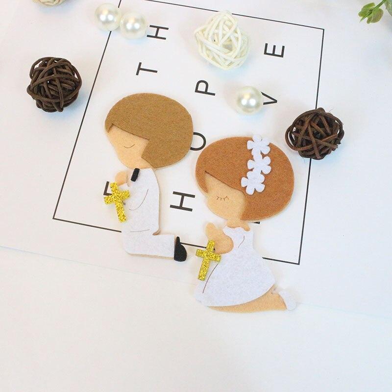 AVEBIEN 50 unids Rezo Niño y niña Tela sin tejer Etiqueta DIY Baby Shower Pegatinas autoadhesivas para paquete de regalo / Bolsas / Copa / Caja / Etiquetas