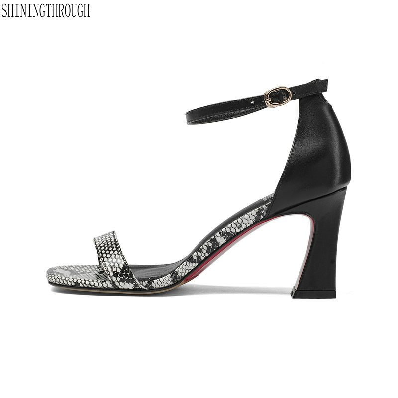 Sandals women 2018 summer Women ankle strap high heel sandals genuine leather sandals women Plus size