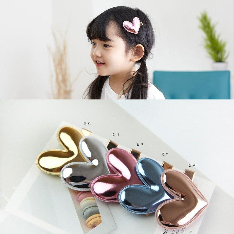 1 PCS  New Fashion PU Mirror Heart Shape Hairpins Girls Hair Accessories Children Headwear Baby Hair Clips Headdress