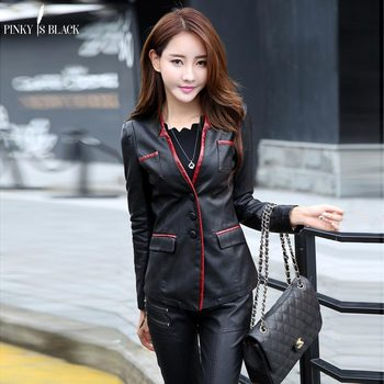 PinkyIsBlack spring and autumn women leather jacket female slim blazer suit leather coat women casual motorcycle jacket female