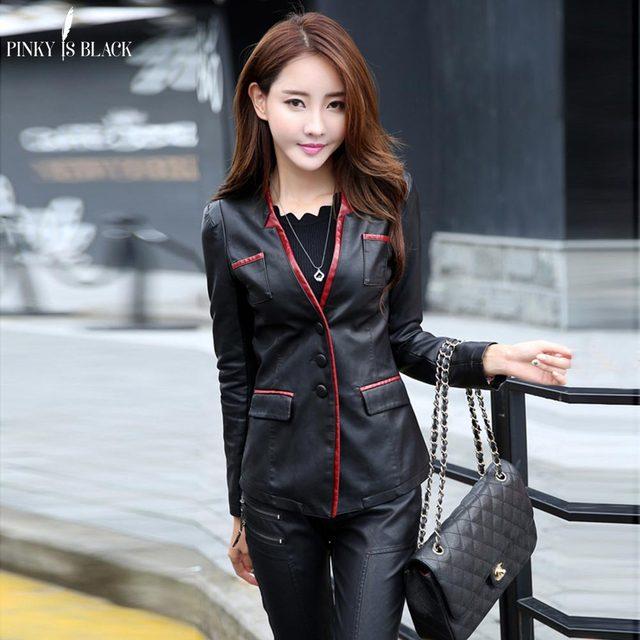 PinkyIsBlack spring and autumn women leather jacket female slim blazer suit leather coat women casual motorcycle jacket female