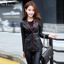 2014 spring and autumn women clothing leather female slim blazer suit jackets