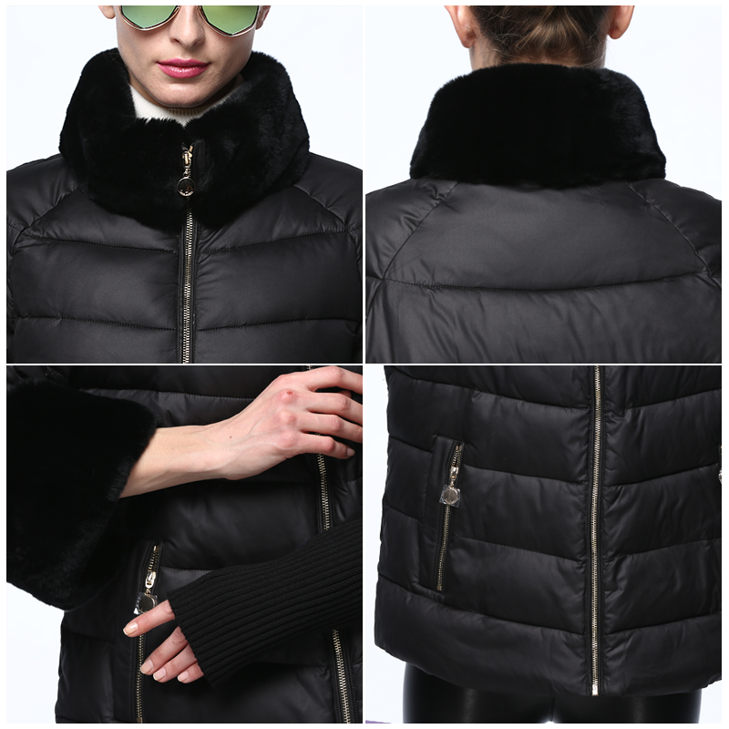 2020 Women's Coat Warm Winter Jacket Real Rabbit Fur Collar / Sleeve Removable Windbreaker Plus Fat Jacket SnowClassic 8