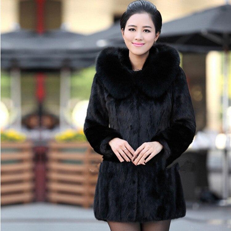 Manteau en fausse fourrure pour femme hiver chaud noir Imitation fourrure de renard Long col rond chapeau tempérament jeune femme 2019 nouveau - 4