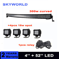 52inch 300W Curved LED Light Bar +4pcs 18w spot led for Off Road Driving Boat Car Truck 4x4 SUV ATV with relay harness