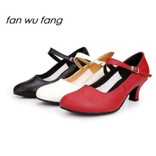 fan wu fang 2017 New Arrival High Quality Full Grain Leather Ballroom Dancing Latin Shoes Tango Adult Ladies Women Heel 5CM 807