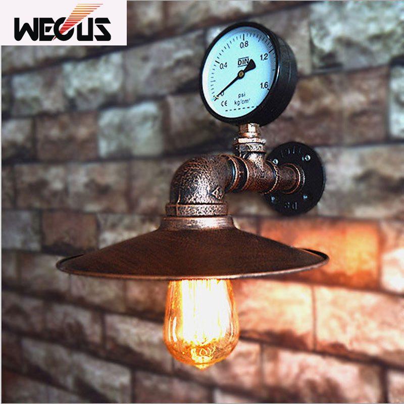 Loft Lampes Imité Water Pipe E27 Mur Lumière Lampe Chambre