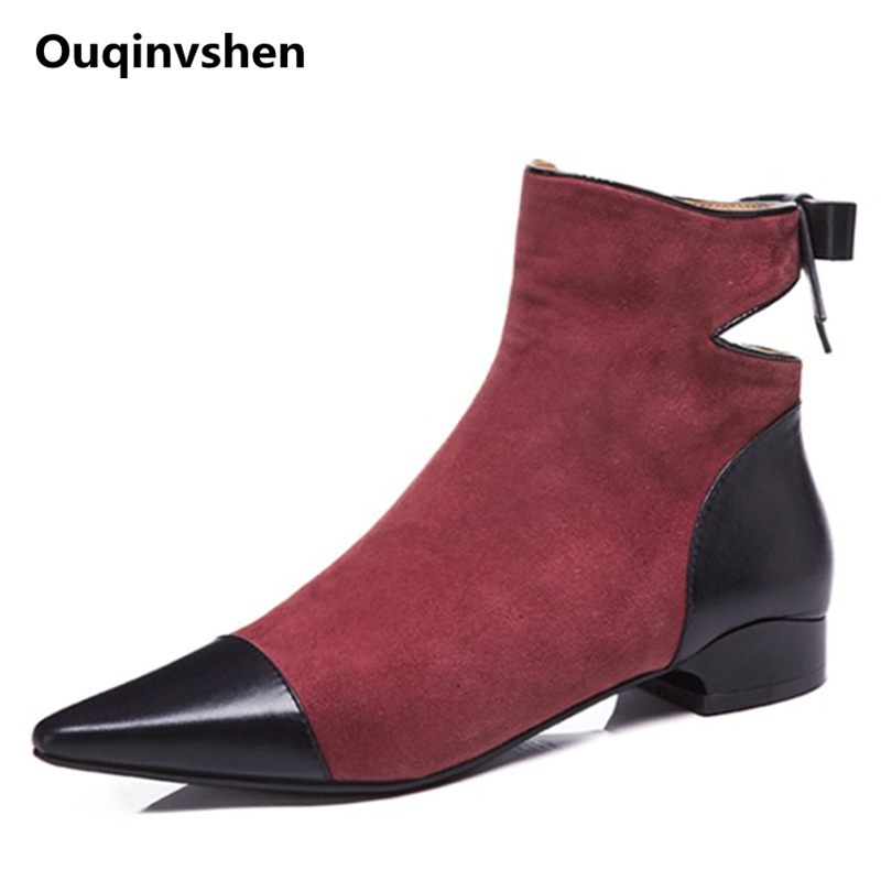 Ouqinvshen Butterfly-knot Casual Flats Women Boots Fashion Kid Suede Autumn Boots Women Hollow Pointed Toe Ladies Ankle Boots women fashion ankle boots top quality suede autumn slip on pointed toe flats punk suede biker boots ladies shoes wholesales