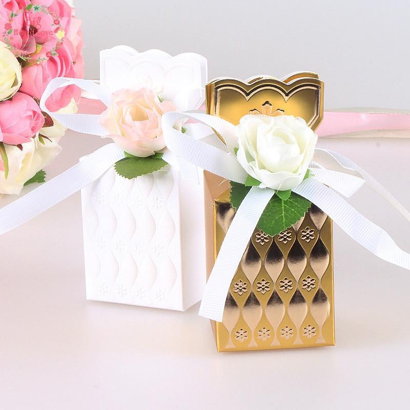 Big Heard Love 10pcs Flower Vase Wedding Favors Box Gift Boxes Baby