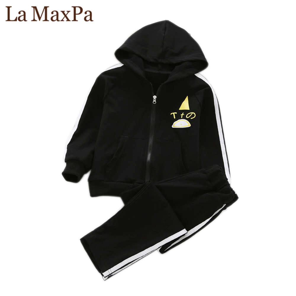 La MaxPa Spring / Autumn New Boys Hooded Zipper Sportswear Cotton Casual Clothes Girls Coat Long Pants 2Pcs Suits Teen Clothing boys camouflage sports suits 2017 new autumn cotton boys long sleeve sportswear 2 pcs set children clothing 3 5 7 9 11 14 y 6