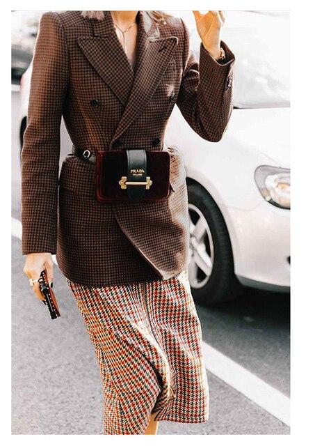 AEL Women Winter Autumn Plaid Woolen Suit Jacket 2017 Grace Female Coat Fashion Lattice Slim Waist Office Lady Clothing 1